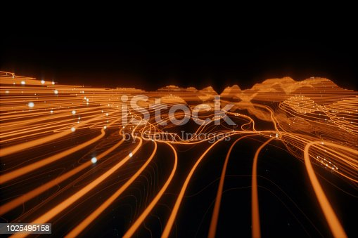 istock 3D Topographic map background concept. Topo contour map. 3d rendering abstract illustration. Valleys and mountains. Geography concept. Wavy backdrop. Space surface. magic orange neon light curved lines. 1025495158