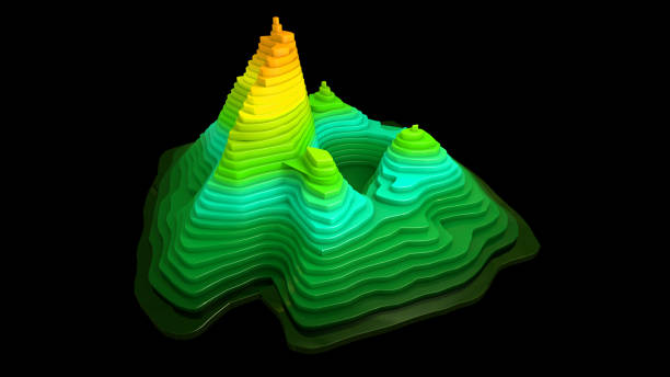 Topographic map backgroundValleys and mountains stock photo