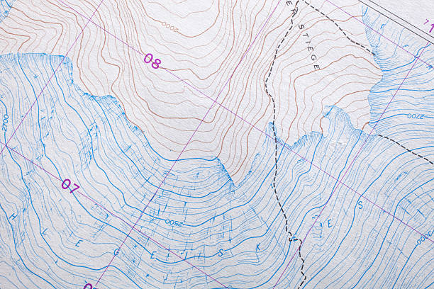 topographic map mountain - topography stock photos and pictures
