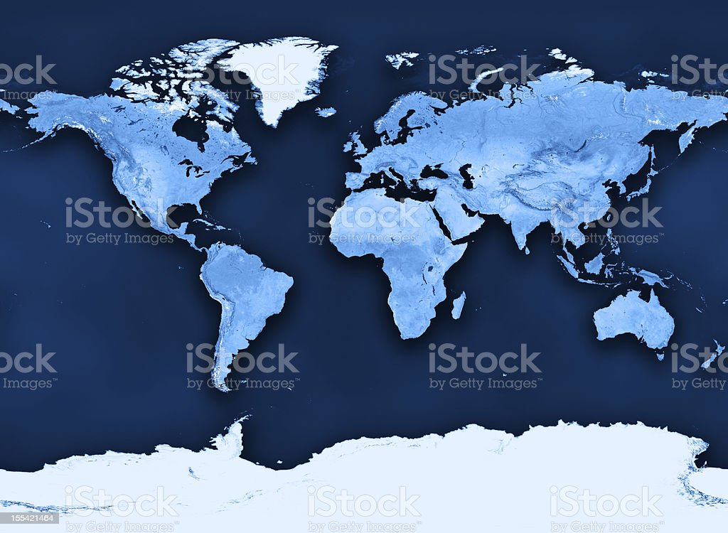 Topographic World Map Miller Projection Clean stock photo