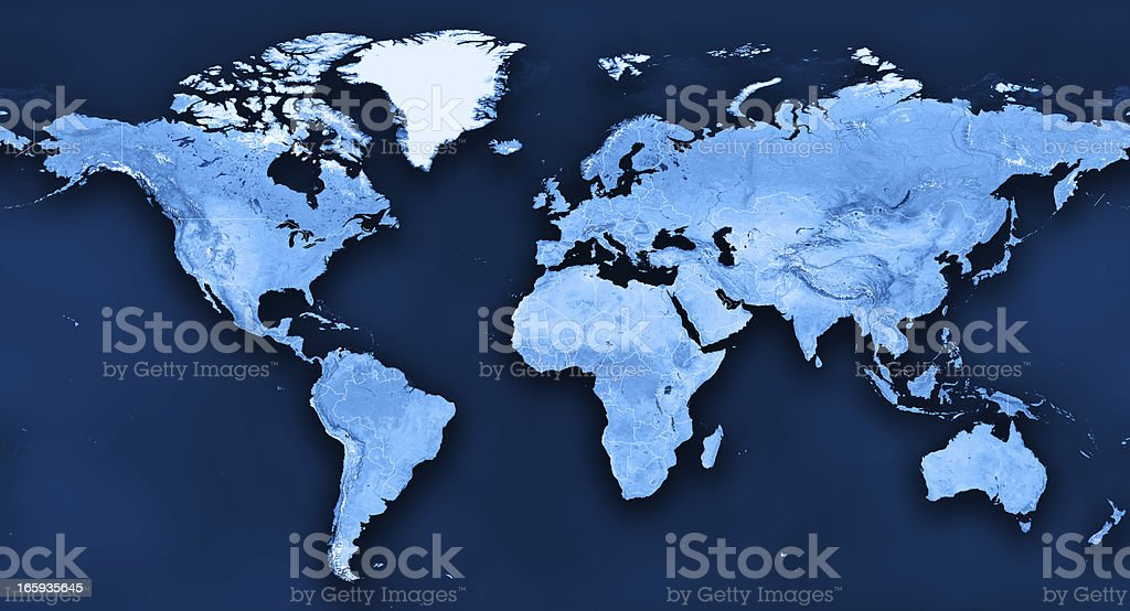 Topographic World Map Political Divisions stock photo