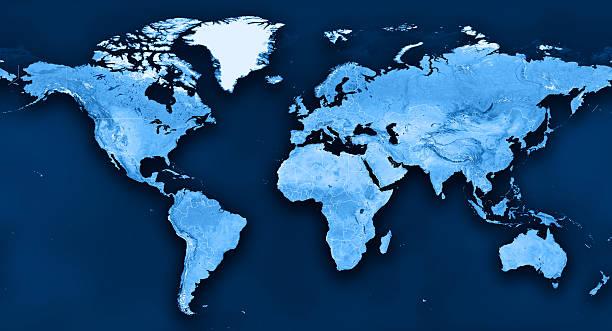 topographic mundo mapa político divisiones - world map fotografías e imágenes de stock