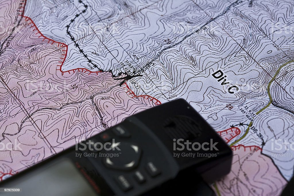 Topography map and gps device royalty-free stock photo