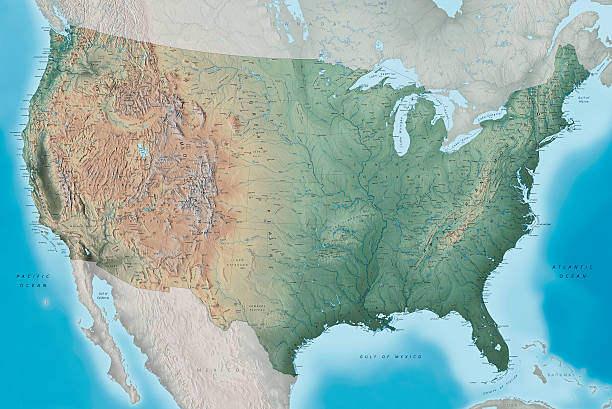 usa topography map - topography stock photos and pictures