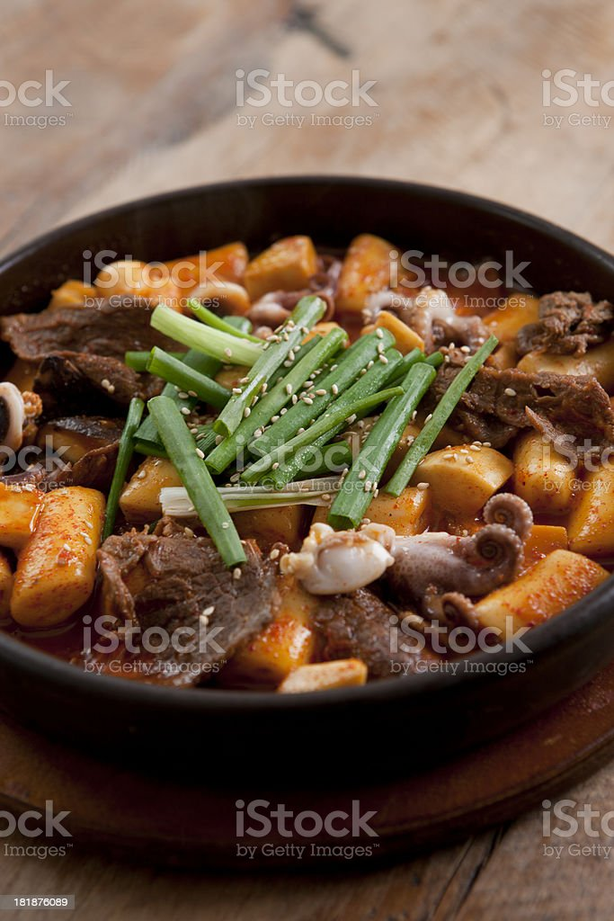 Topokki - Stir Fried rice cakes in hot sauce royalty-free stock photo