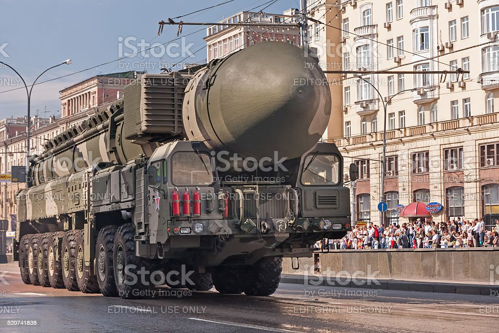 Topol-M (SS-27 Sickle B) intercontinental ballistic missile on V-Day parade stock photo
