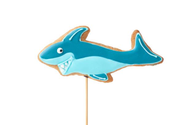 topper. hausgemachter lebkuchen in form von hai. - hai party lebensmittel stock-fotos und bilder