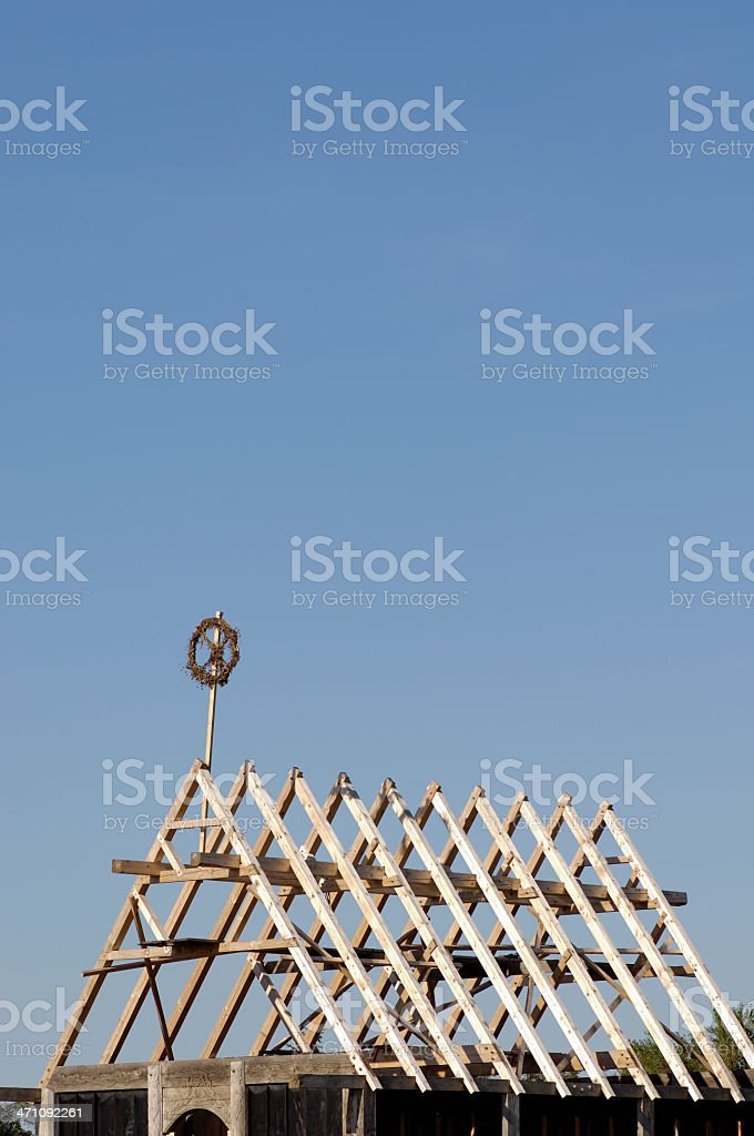 Topping-out ceremony / roof framework royalty-free stock photo