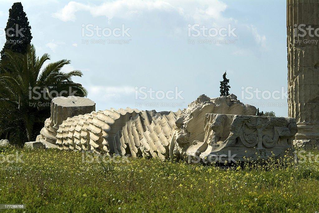 Toppled Greek column - Athens royalty-free stock photo
