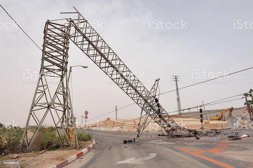 Toppled overhead power line stock photo