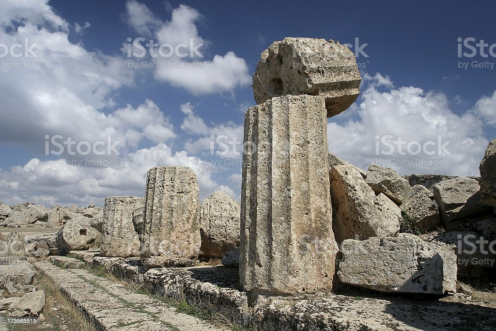 Toppling Ancient Greek Column royalty-free stock photo