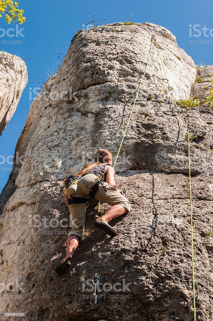 Toprope Klettern - Lizenzfrei 2015 Stock-Foto