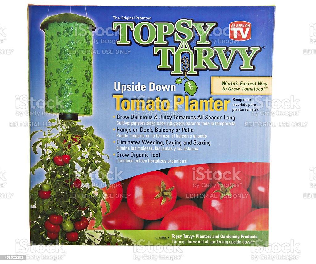Topsy Turvey Upside Down Tomato Planter. stock photo