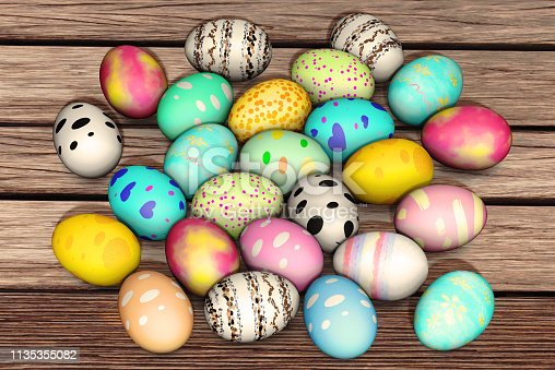 Topview colorful easter eggs on wood plate background,3d rendering