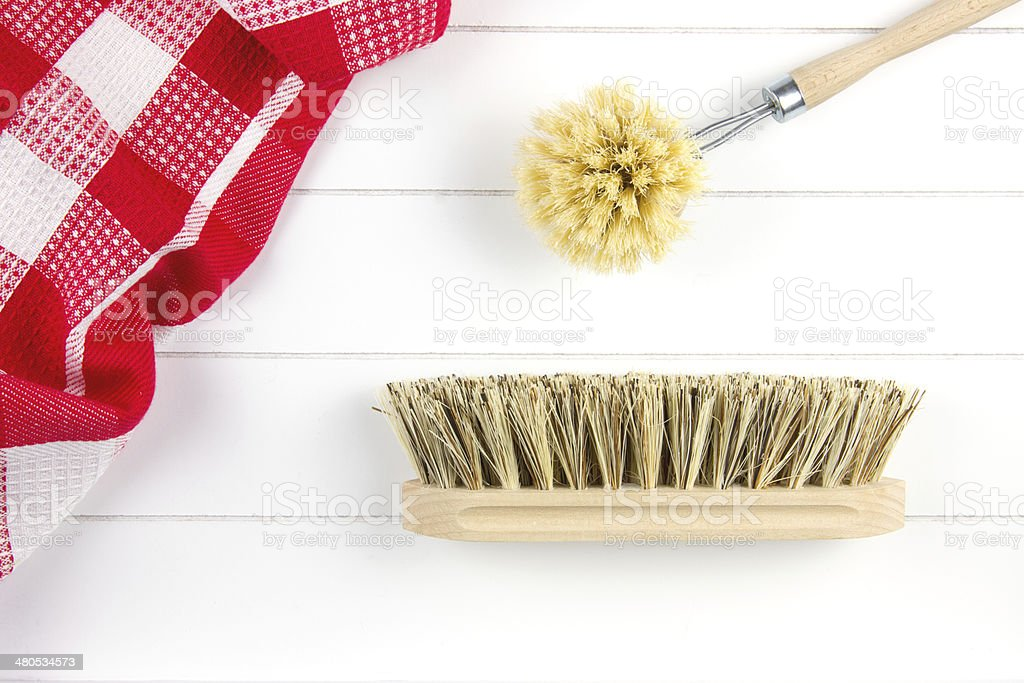 top-view of brush for dish-washing and scrubbing stock photo
