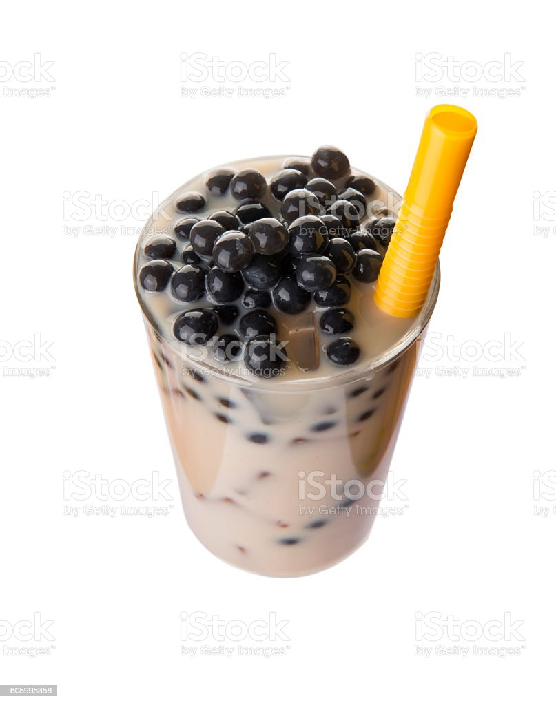 Top-view of bubble tea with tapioca pearls stock photo