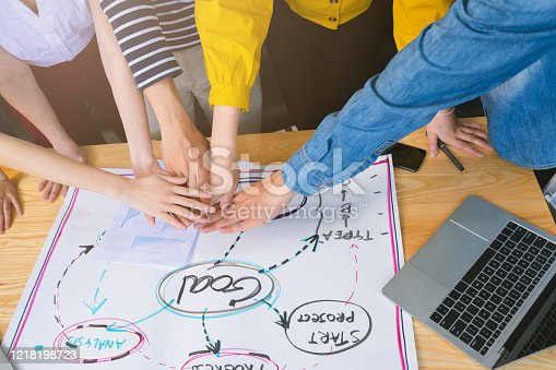 1133505958 istock photo topview of creative agency business brain storm meeting presentation Team discussing roadmap to product launch, presentation, planning, strategy, new business development 1218198723