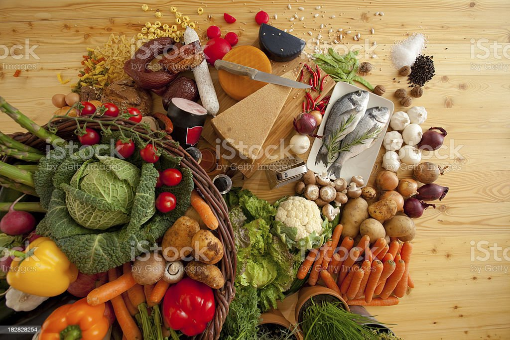 topview of different raw foods royalty-free stock photo