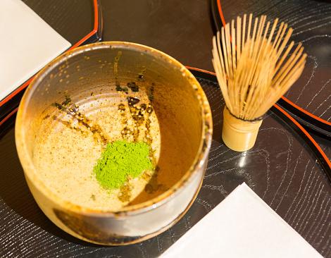topview set of Chado or sado. set of japanese green matcha tea and chasen made from bamboo