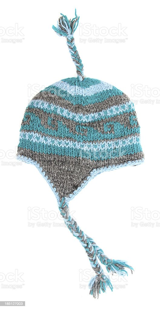 Toque with tassels on white stock photo