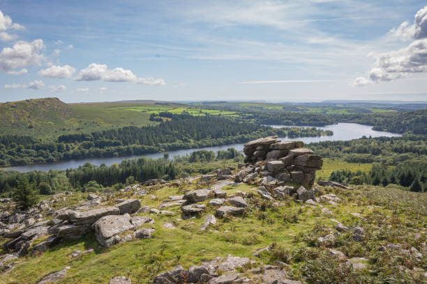 tor overlooking the lake - outcrop stock pictures, royalty-free photos & images