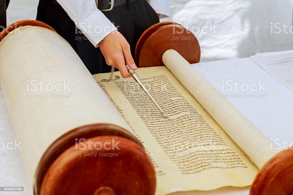 Torah at Bar Mitzvah 5 SEPTEMBER 2016 USA stock photo