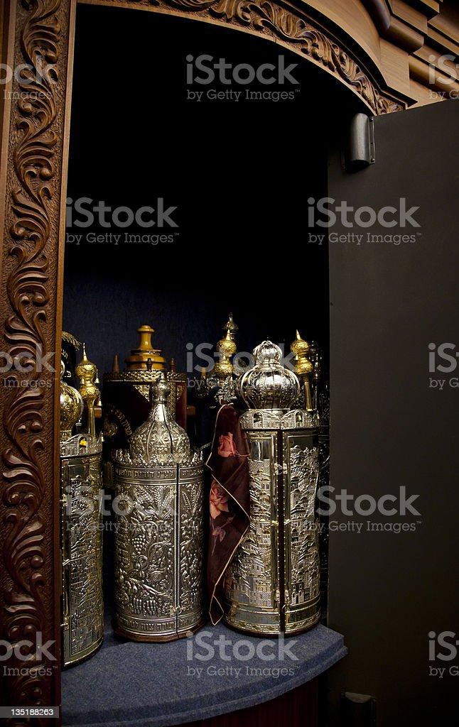 Torah Scrolls Cabinet stock photo
