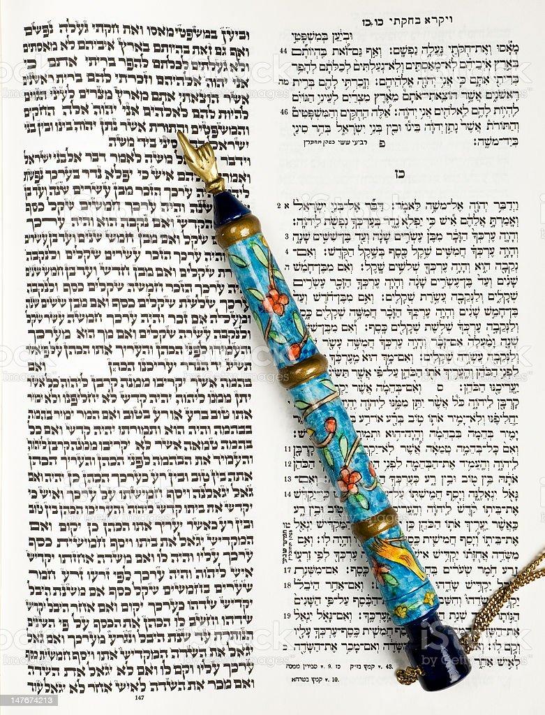 Torah, Tikkun Book, And Pointer, Or Yad stock photo
