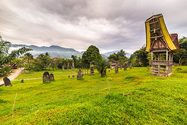 Toraja traditional style architecture Tipical boat shaped roofs of an ancient traditional wooden building around a cluster of megaliths on the hill of Rantepao, Tana Toraja, South Sulawesi, Indonesia. Wide angle shot, awesome cloudy sky. sulawesi stock pictures, royalty-free photos & images