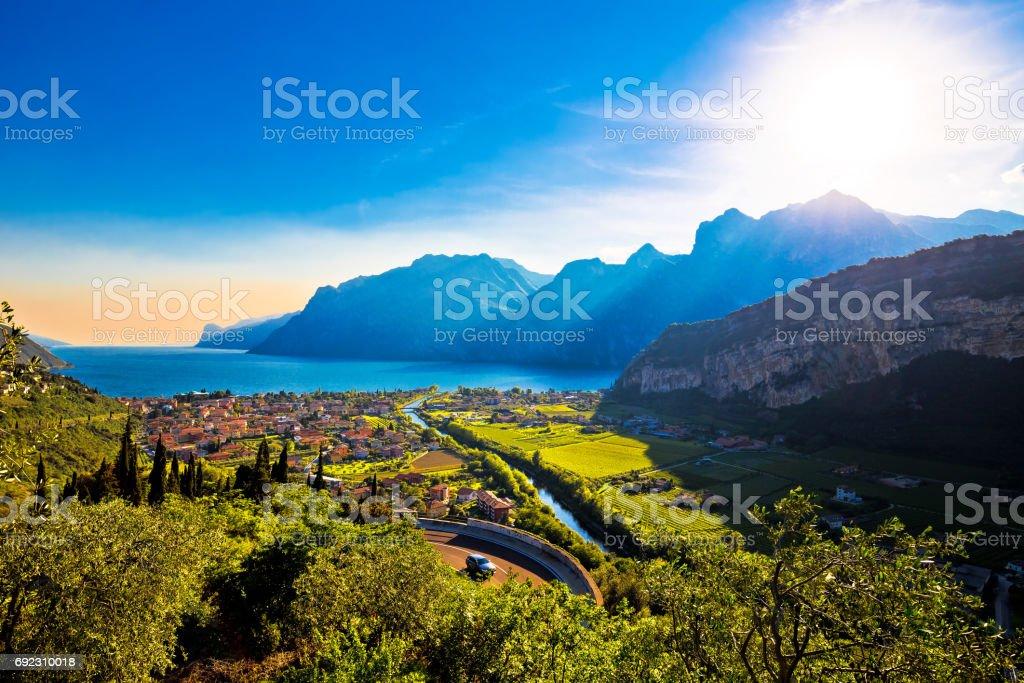 Torbole, Lago di Garda , Monte Brione mountain and Sarca river view, Trentino Alto Adige region of Italy stock photo