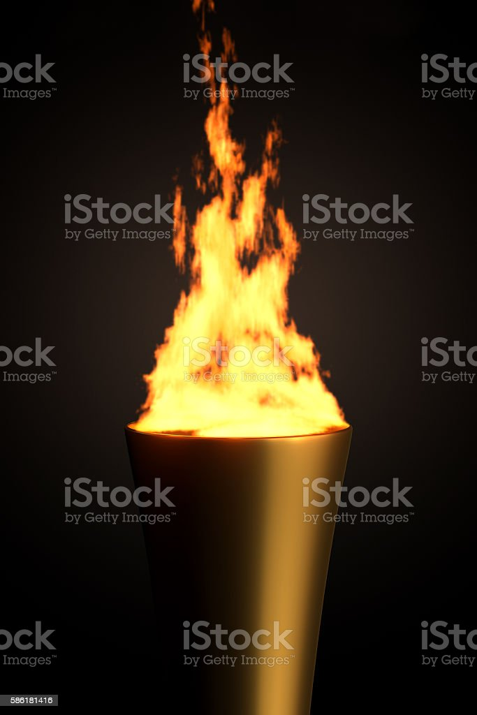 Torch with Flame, 3D Rendering stock photo