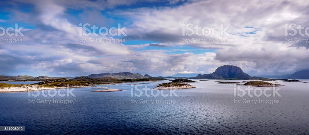Torghatten Norway - the mountain with the hole stock photo