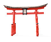 Torii gate isolated on white with clipping path (excluding shadow)