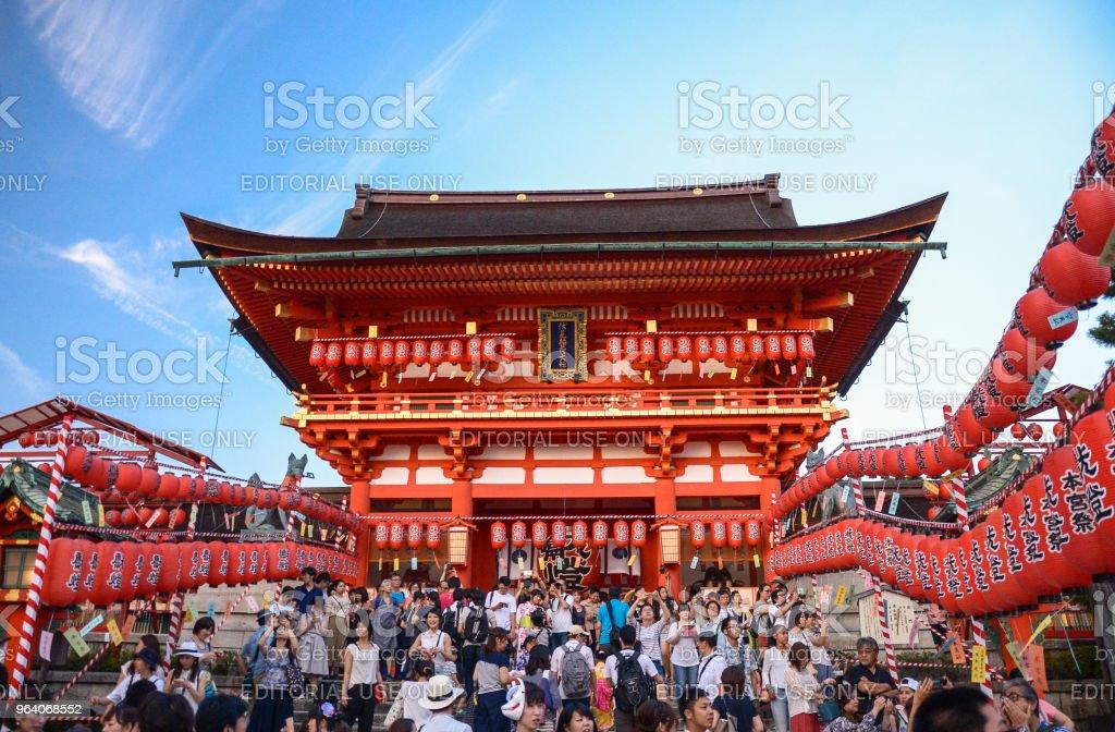 Torii gates at Fushimi Inari Shrine in Kyoto. - Royalty-free Ancient Stock Photo