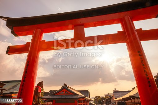 Kyoto, Japan - August 18, 2019: Torii gates in Fushimi Inari Shrine.