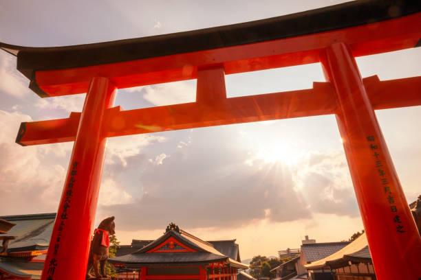 Torii gates in Fushimi Inari Shrine, Kyoto, Japan Kyoto, Japan - August 18, 2019: Torii gates in Fushimi Inari Shrine. shinto stock pictures, royalty-free photos & images