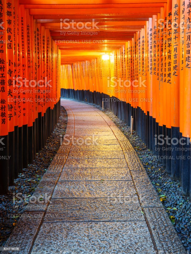 Torii gates in Fushimi Inari Shrine, Kyoto, Japan stock photo