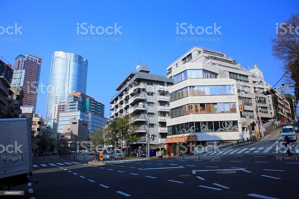 Torii-sakasita crossing and Roppongi stock photo