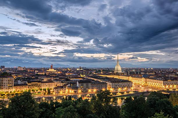 Torino panorama at twilight stock photo