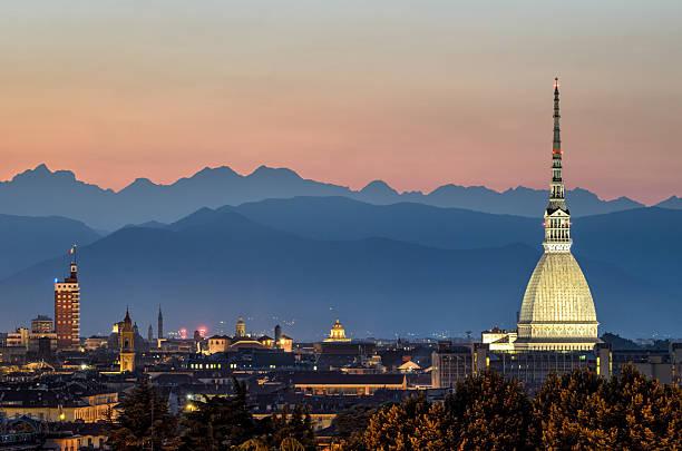 Torino panorama with the Mole Antonelliana at twilight stock photo