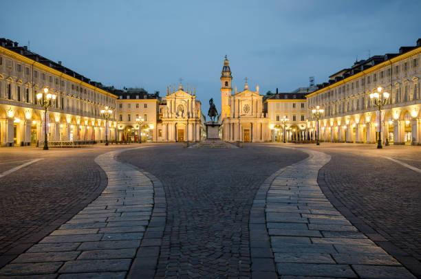 Torino Piazza San Carlo at twilight stock photo
