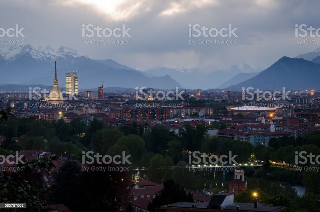 Torino, skyline with Mole Antonelliana and Susa Valley royalty-free stock photo