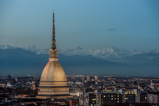 Torino with Mole Antonelliana and the Alps