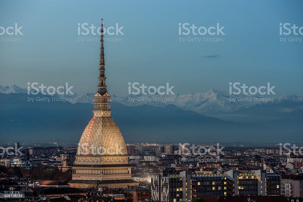 Torino with Mole Antonelliana and the Alps stock photo