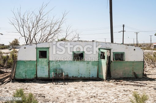 A torn and abandoned trailer in Salton Sea, California - summer 2007.