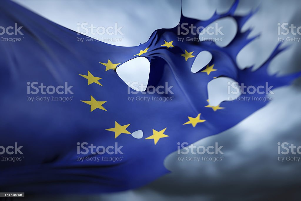 Torn and majestic European Union Flag royalty-free stock photo