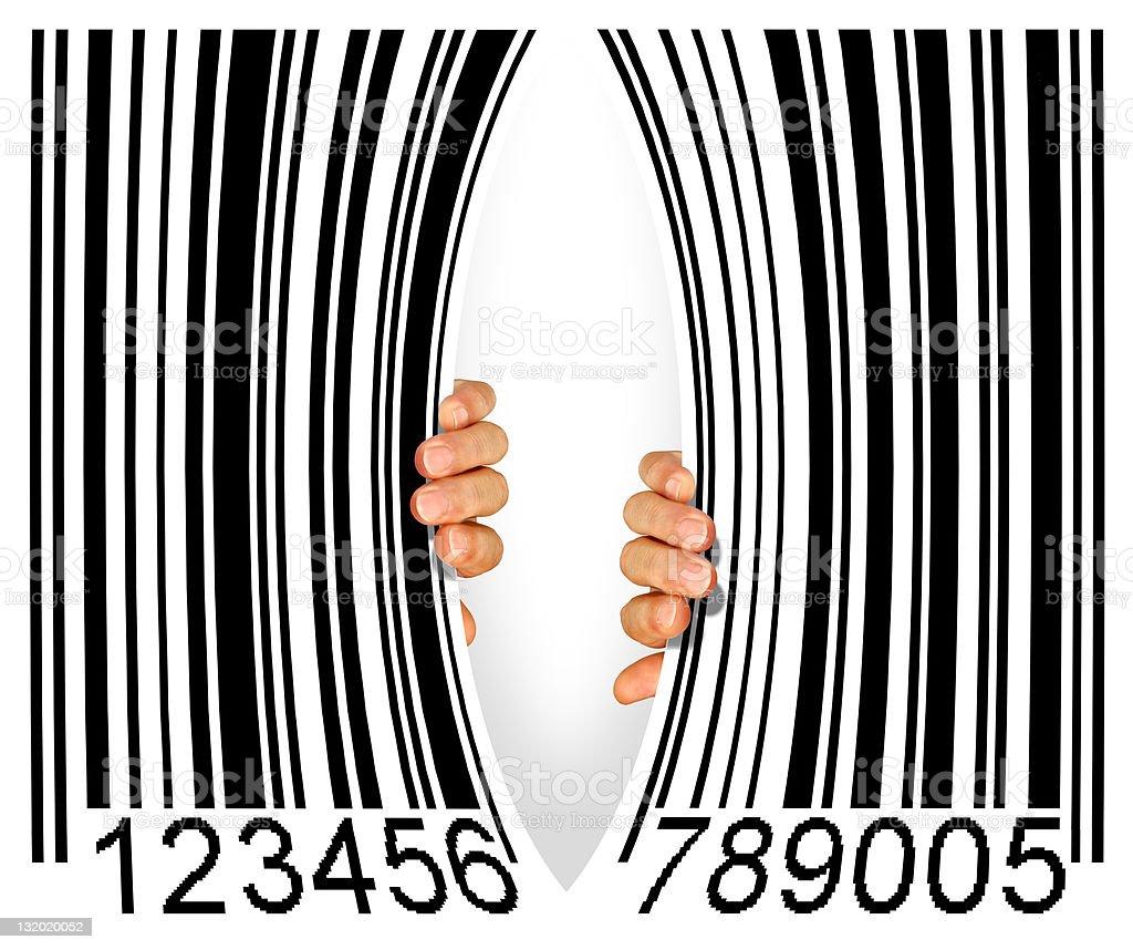 Torn Bar Code stock photo