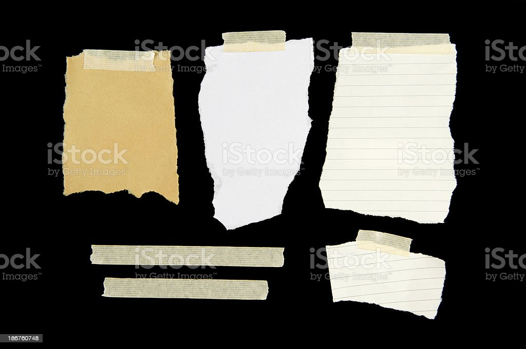 Torn Blank Paper with Adhesive Tape stock photo