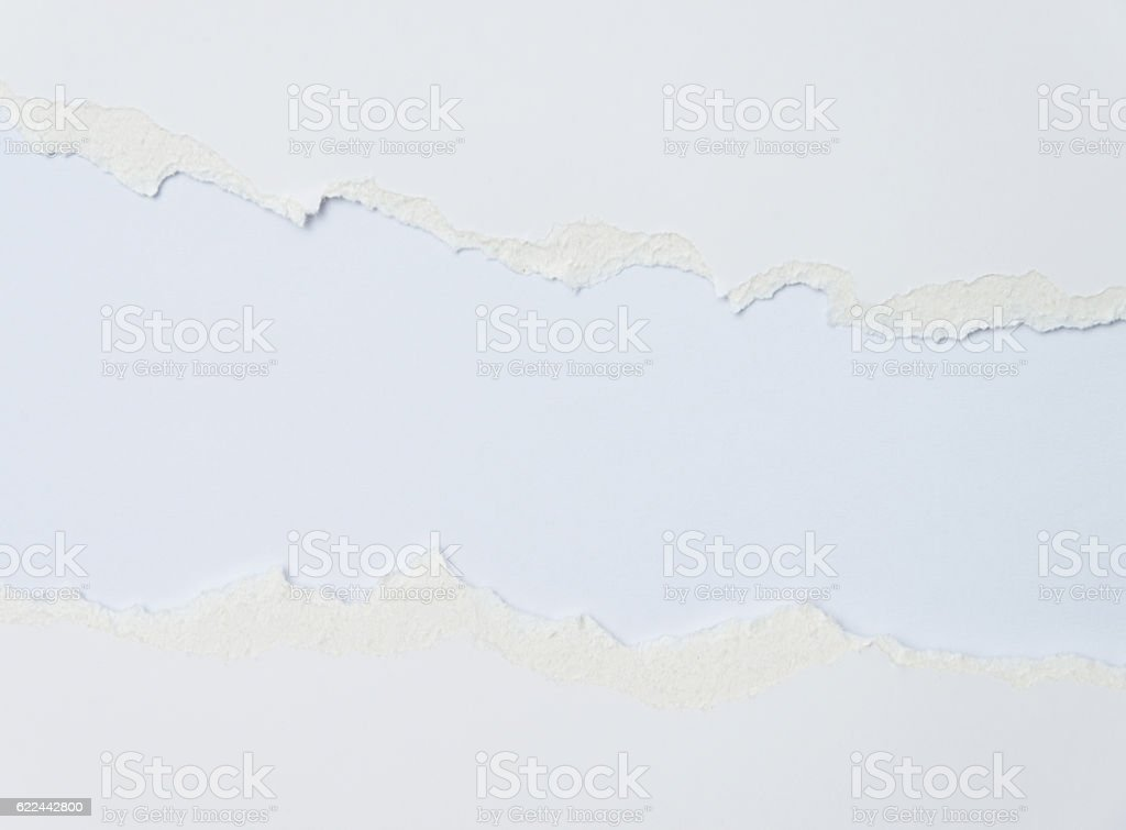 Torn blank white paper on white background – Foto