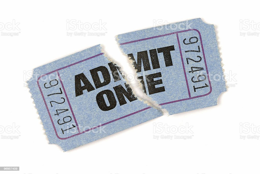 Torn blue admission ticket stock photo